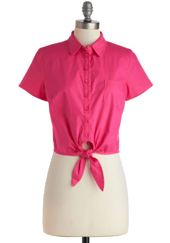 Little Pink Tie Top - Pink, Solid, Buttons, Pinup, Short Sleeves, Cotton, Short, Summer, 60s