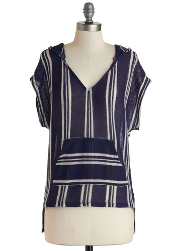 Yoga Class Brunch Top - Sheer, Mid-length, Blue, White, Stripes, Pockets, Casual, Hoodie, Short Sleeves, Boho, Travel, V Neck