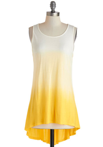 Sunrise and Shine Top in Gold - Jersey, Mid-length, Yellow, White, Ombre, Casual, Tank top (2 thick straps), Beach/Resort, Travel, Summer, Scoop