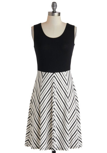 Fondant and Games Dress - Mid-length, Black, White, Chevron, Casual, A-line, Tank top (2 thick straps), Scoop, Spring