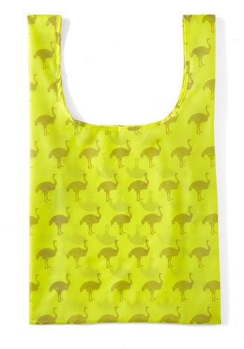 That's Ostrich Tote by Baggu - Yellow, Print with Animals, Casual, Neon, Eco-Friendly, Travel