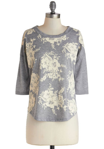 Call It a Decor Top - Grey, Floral, Casual, Jersey, Mid-length, Tan / Cream, Spring, Grey, 3/4 Sleeve