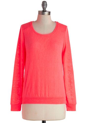 Boardwalk Beauty Sweater - Mid-length, Pink, Solid, Casual, Neon, Long Sleeve, Travel, Minimal, Scoop