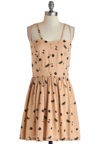 Suite Treats Dress by Sugarhill Boutique - International Designer, Mid-length, Pink, Black, Novelty Print, Buttons, Casual, A-line, Sleeveless, Cutout, Vintage Inspired, Fruits, Summer