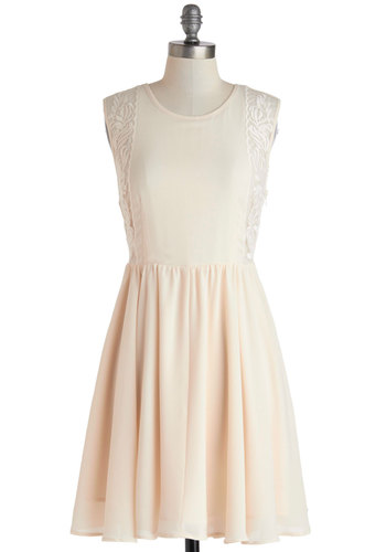 Case En Pointe Dress - Mid-length, Pink, Backless, Embroidery, Party, A-line, Sleeveless, Scoop, Solid, Daytime Party, Graduation, Pastel, Summer