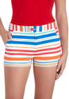 Snow Cone Saturday Shorts by Tulle Clothing - Multi, Red, Orange, Blue, Tan / Cream, White, Stripes, Casual, Short, Cotton, Pockets, Beach/Resort, Summer