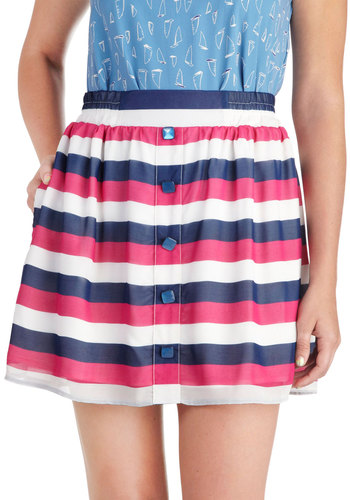 Freesia Fields Skirt by Tulle Clothing - Multi, Purple, Pink, White, Stripes, Buttons, Casual, A-line, Short, Pockets, Summer