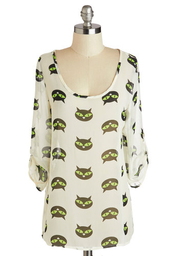 Cats All, Folks! Top - White, Green, Black, Casual, Sheer, Print with Animals, Novelty Print, Quirky, 3/4 Sleeve, Scoop, Cats, Halloween, Top Rated, Mid-length
