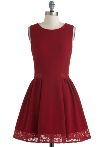 Maraschino Cheery Dress in Grenadine by Myrtlewood - Red, Solid, Crochet, Party, Fit & Flare, Sleeveless, Scoop, Cocktail, Vintage Inspired, Mid-length, Fall, Exclusives, Private Label, Show On Featured Sale