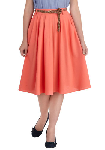 Breathtaking Tiger Lilies Skirt in Flamingo - Coral, Solid, Work, Daytime Party, Belted, Spring, Variation, Long, Pleats, Pockets, Basic, Ballerina / Tutu, Orange, Top Rated