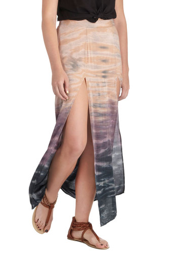 River Runs at Dusk Skirt - Multi, Purple, Tan / Cream, Black, Ombre, Casual, Boho, Maxi, Long, Tie Dye, Beach/Resort, Vintage Inspired, 70s, Travel, Spring, Summer