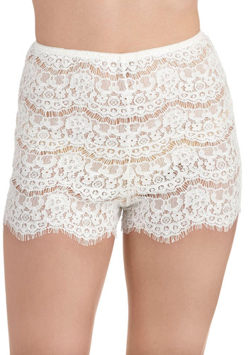 Daybed at Dawn Sleep Shorts in Ivory - White, Solid, Lace, Film Noir, Pinup, Vintage Inspired, 40s, 50s, High Waist, Exclusives, Lace, Darling, Boudoir