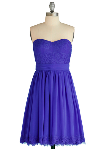 Chic My Name Dress in Iris - Chiffon, Short, Blue, Solid, Fringed, Lace, Cocktail, Empire, Strapless, Sweetheart, Bridesmaid