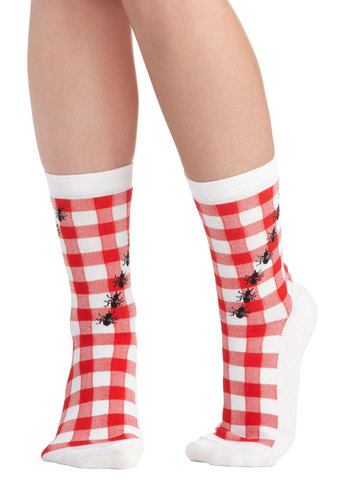 Picnic Appearance Socks - Red, Black, Checkered / Gingham, Print with Animals, Quirky, White, Novelty Print