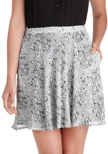 Flirtatious Lace Skirt - Grey, Print, Lace, Party, Daytime Party, A-line, Pockets, Short