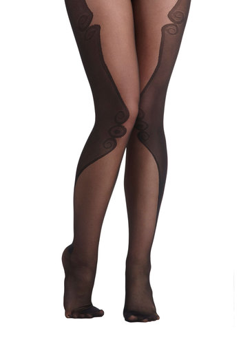 On a Scroll Tights - Black, Print, Sheer, International Designer, Statement