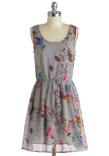 On the Wings of Your Fancy Dress by Sugarhill Boutique - International Designer, Mid-length, Grey, Multi, Floral, Casual, A-line, Tank top (2 thick straps), Scoop, Print with Animals