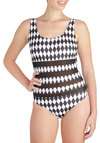 Catch a New Wave One Piece by Motel - Black, White, Checkered / Gingham, Beach/Resort, Urban, Tank top (2 thick straps), Summer, Sheer, Cutout, International Designer
