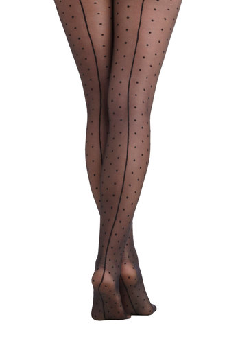 I Dreamed a Seam Tights - Black, Polka Dots, Sheer, International Designer, Rockabilly, Pinup, Vintage Inspired, 40s, 50s
