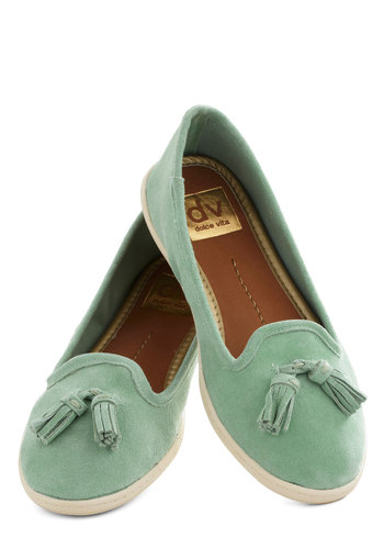 Fill Your Shoes Flat by Dolce Vita - Mint, Solid, Tassels, Flat, Leather, Work, Casual, Vintage Inspired, Suede