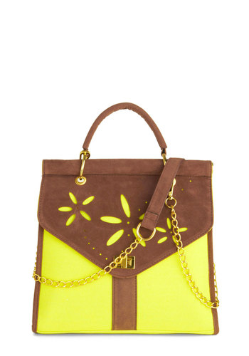 Let's Get Glowing Bag - Brown, Solid, Cutout, Flower, Vintage Inspired, 70s, Neon, Green, Chain, Beach/Resort, Work