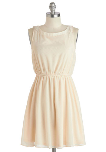 It's a Texture Thing Dress - Solid, Backless, Party, A-line, Sleeveless, Scoop, Short, Cream, Daytime Party, Graduation, Summer