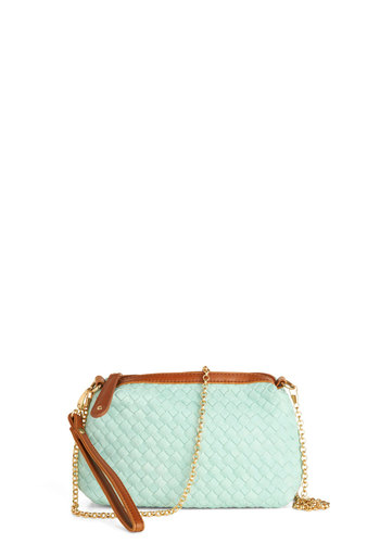 All in a Day's Networking Bag - Mint, Tan / Cream, Solid, Woven, Pastel, Faux Leather