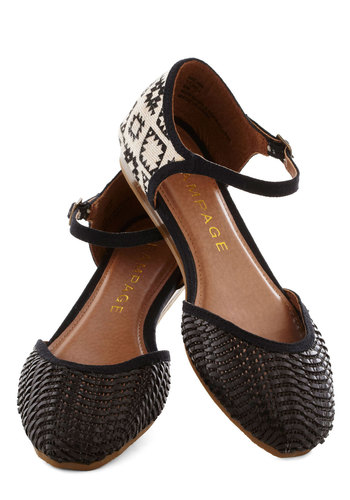 Big Sur Stop Flat in Black - Black, White, Print, Woven, Flat, Casual, Summer, Variation