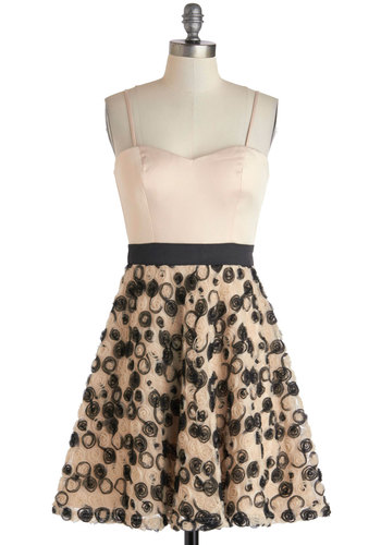 Bouquet of Rosettes Dress - Short, Pink, Black, Flower, Prom, Cocktail, Fit & Flare, Strapless, Sweetheart, Exclusives