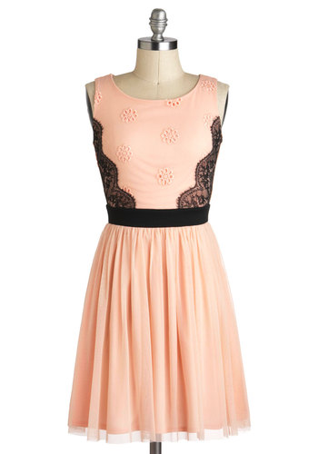 Candied Confection Dress - Pink, Black, Lace, A-line, Sleeveless, Embroidery, Party, Wedding, Vintage Inspired, Fairytale, Mid-length, Formal, Pastel, Spring, Prom, Bridesmaid