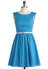 Azul You Like It Dress - Short, Blue, White, Polka Dots, Party, Sleeveless, Belted, Fit & Flare, Cotton, Boat, Summer