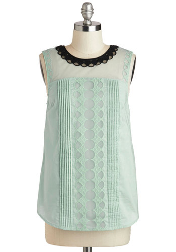 Cloud Bank Top in Mint - Mint, Black, Lace, Peter Pan Collar, Daytime Party, Sleeveless, Collared, Vintage Inspired, Variation, Mid-length, Sheer, Spring, Cotton, Green, Sleeveless, Pastel, Lace