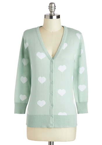 Warmhearted Welcome Cardigan in Blue - Cotton, Mid-length, White, Novelty Print, Buttons, Casual, Long Sleeve, V Neck, Blue, Pastel, Variation, Winter, Exclusives, Valentine's, Blue, Long Sleeve