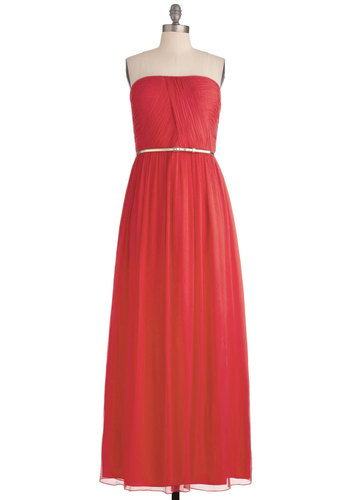 The Local Muse Dress in Coral - Red, Solid, Strapless, Special Occasion, Prom, Wedding, Vintage Inspired, Maxi, Long, Exclusives, Belted, Ruching, Variation, Bridesmaid