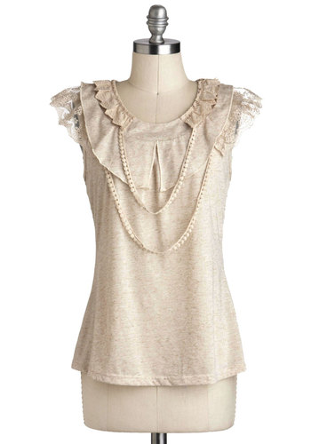 Refined Your Way Top - Mid-length, Cream, Solid, Lace, Trim, Work, Sleeveless, Party, French / Victorian, Sheer