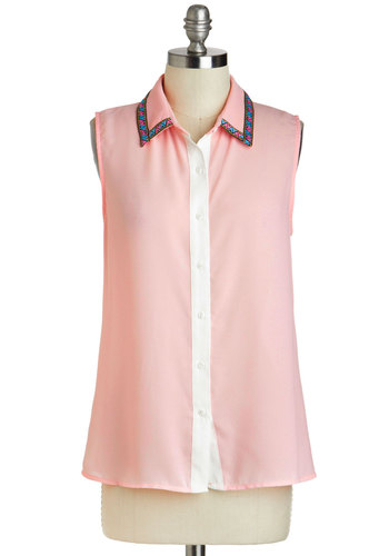 Colors of Kiev Top - Sheer, Mid-length, Pink, Blue, White, Buttons, Sleeveless, Collared, Casual, Menswear Inspired, Pastel, Button Down