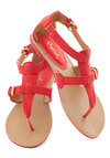Travel Blogger Sandal in Poppy - Coral, Solid, Buckles, Summer, Flat, Travel