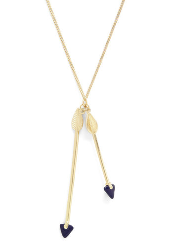 Love is in the Arrow Necklace - Solid, Casual, Gold, Valentine's, Blue, Quirky