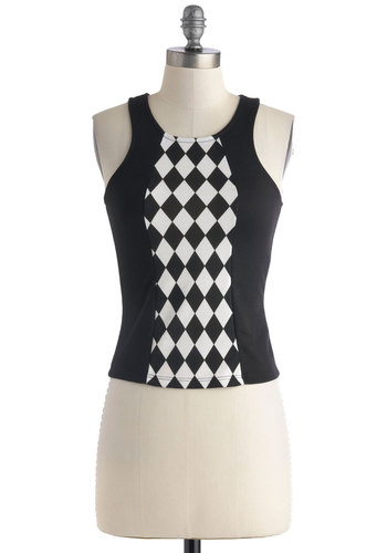 Ska's the Limit Top - Short, Black, White, Checkered / Gingham, Party, Vintage Inspired, 80s, Tank top (2 thick straps), Racerback, Sheer