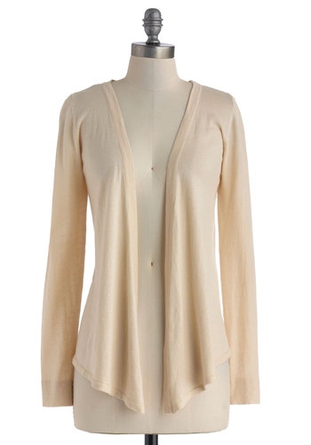 Friday Knit In Cardigan in Chai - Mid-length, Cream, Solid, Casual, Long Sleeve