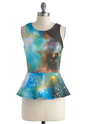 Astronaut So Fast Top - Mid-length, Multi, Blue, Black, Novelty Print, Print, Party, Girls Night Out, Peplum, Sleeveless, Sheer, Statement, Blue, Sleeveless, Quirky, Cosmic