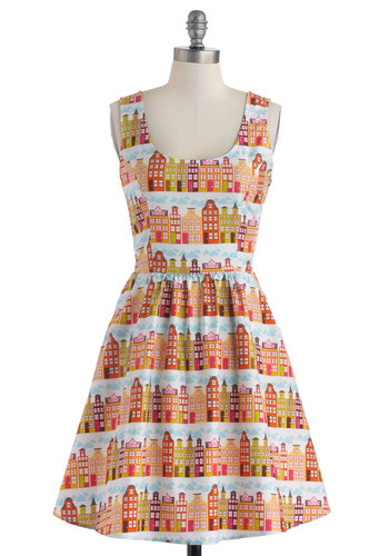 Rainbow Row Dress in Citrus - Mid-length, Cotton, Multi, Pockets, A-line, Tank top (2 thick straps), Scoop, Novelty Print, Casual, Quirky, Orange, Variation, Exclusives, Woven