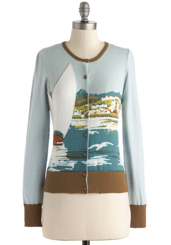 How About that View? Cardigan by Knitted Dove - Blue, Green, Brown, White, Buttons, Casual, Long Sleeve, Nautical, Mid-length, Cotton