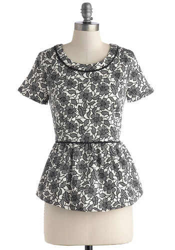 Trellis a Secret Top - Black, White, Floral, Work, Peplum, Short Sleeves, Mid-length, Daytime Party, Film Noir, Scoop