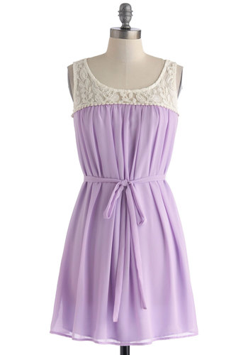 Living in Harmony Dress - Chiffon, Sheer, Short, Purple, Tan / Cream, Crochet, Lace, Belted, A-line, Sleeveless, Scoop, Solid, Daytime Party, Pastel, Spring, Summer