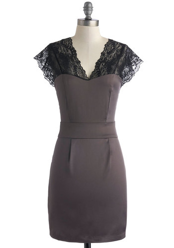 Steel My Kisses Dress - Grey, Black, Lace, Party, Cap Sleeves, Short, Backless, Sheath / Shift, Sheer