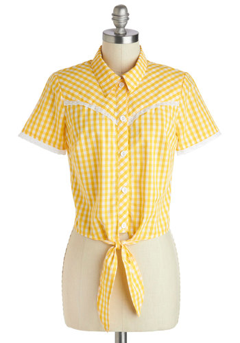 Modern Day Memories Top - Yellow, Checkered / Gingham, Buttons, Eyelet, Rockabilly, Pinup, Vintage Inspired, 50s, Short Sleeves, Collared, International Designer, Cotton, Short, Summer, 60s