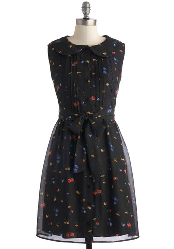 Gardener of the Grounds Dress by Tulle Clothing - Black, Multi, Buttons, Peter Pan Collar, Belted, Sleeveless, Collared, Floral, A-line, Mid-length, Sheer, Lace