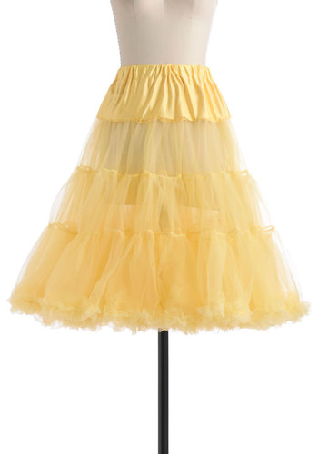 Va Va Voluminous Petticoat in Yellow - Yellow, Solid, Rockabilly, Pinup, Vintage Inspired, 50s, Mid-length, Sheer, Ruffles, Party, Statement