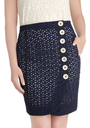 Working Brunch Skirt by Knitted Dove - Blue, White, Solid, Buttons, Eyelet, Work, Mid-length, Cotton, Pockets, Daytime Party, Pencil